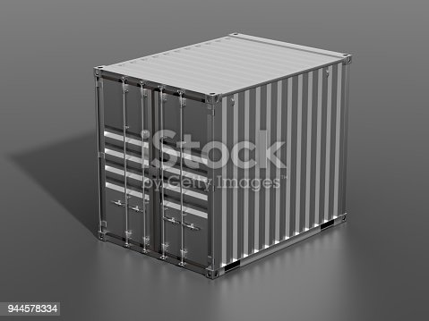 944243850 istock photo Brown ship cargo container side view 10 feet length 944578334