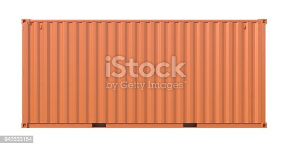 944243850 istock photo Brown ship cargo container side view 20 feet length 942333154