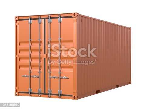944243850 istock photo Brown ship cargo container side view 20 feet length 943155570