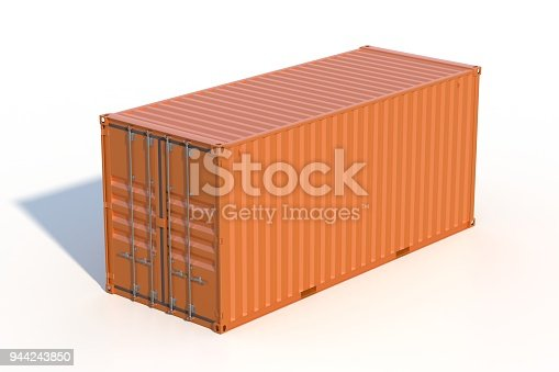istock Brown ship cargo container side view 20 feet length 944243850