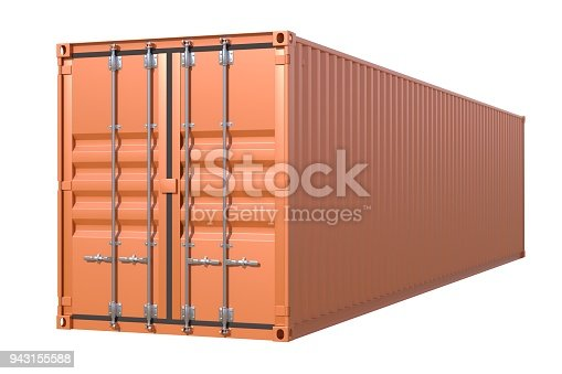 944243850 istock photo Brown ship cargo container side view 40 feet length 943155588