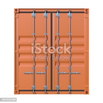 944243850 istock photo Brown ship cargo container side view 942333396