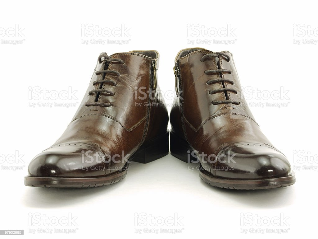 Brown shoes isolated on white royalty-free stock photo
