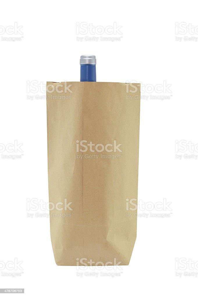 Brown Shopping Bag with Wine Bottle stok fotoğrafı