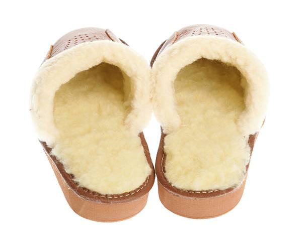 5b278821f77 brown slippers isolated on a white background. stock photo