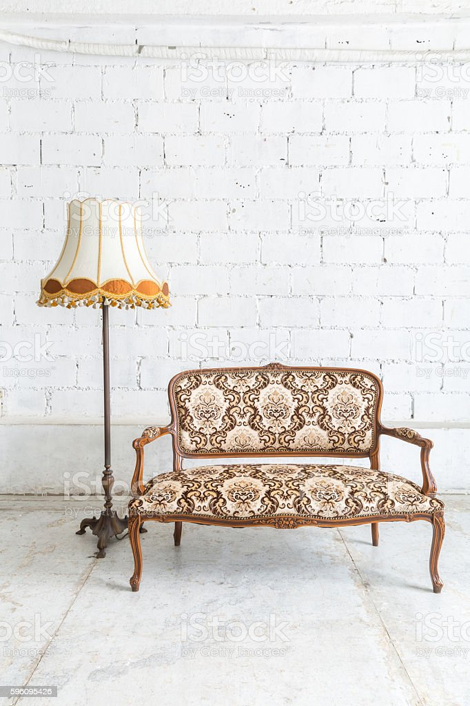 Brown sofa couch lamp royalty-free stock photo