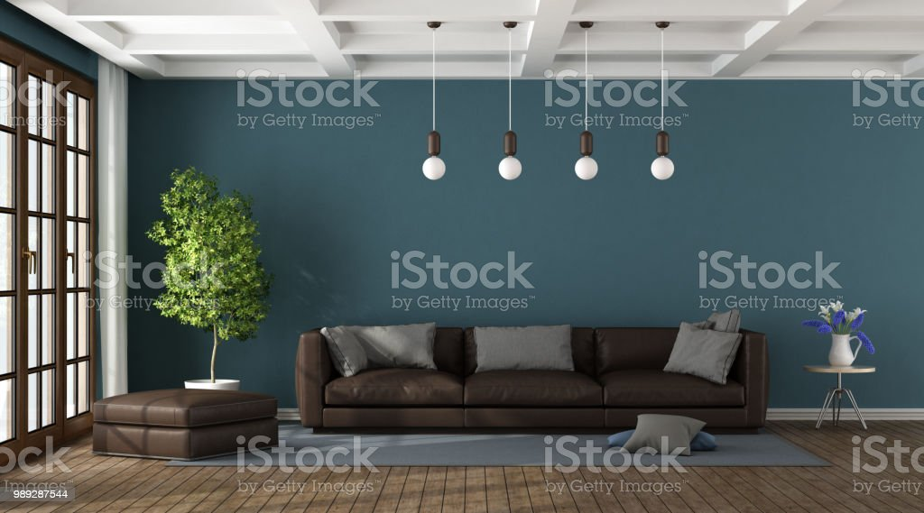 Brown Sofa In A Blue Living Room Stock Photo Download Image Now Istock