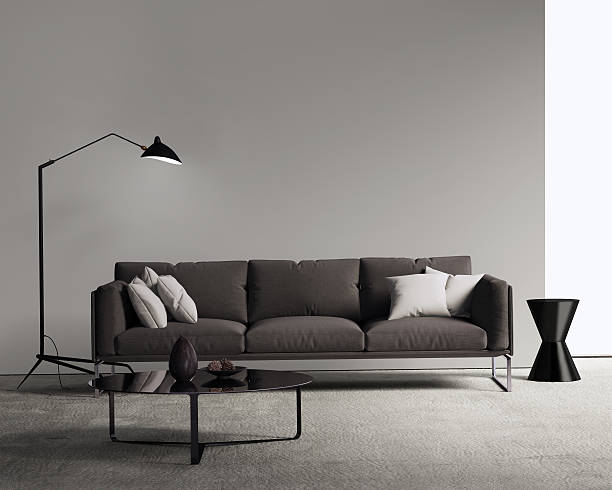 Brown sofa in a modern contemporary living room stock photo