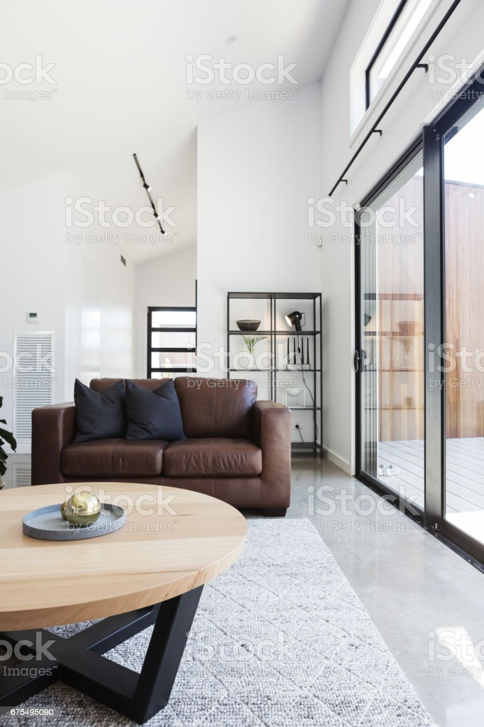 Brown Sofa In Contemporary Styled Living Room Stock Photo