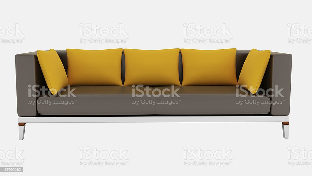 brown sofa isolated on white royalty-free stock photo
