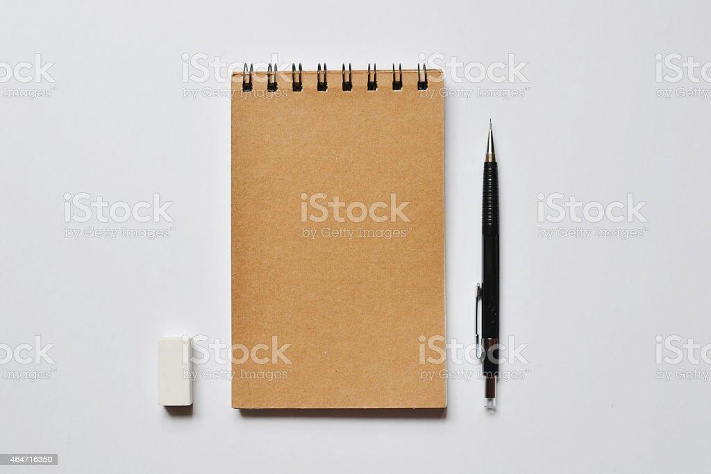 Brown Spiral notebook stock photo