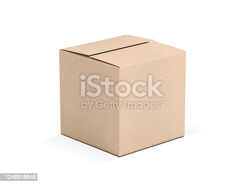 Brown square cardboard box mock up isolated on white, 3d rendering