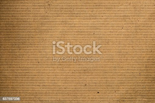 istock Brown striped recycle paper texture for wrapping 637597036