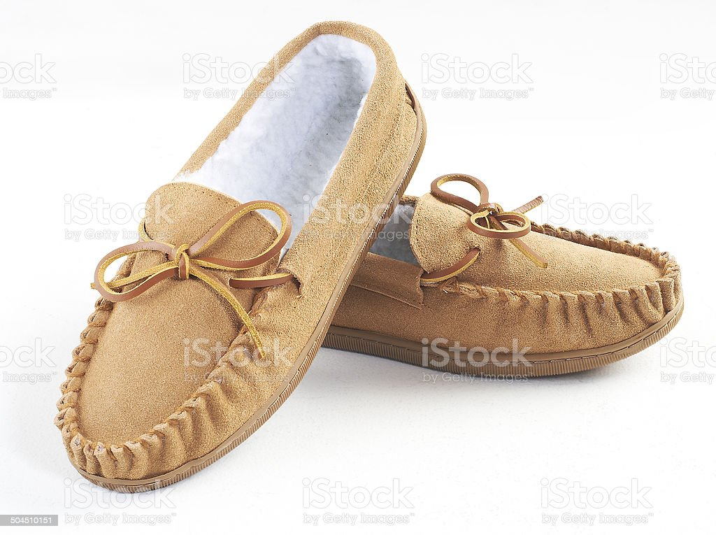 brown suede slippers stock photo