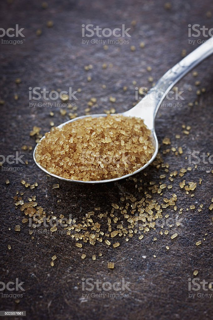 brown sugar closeup stock photo