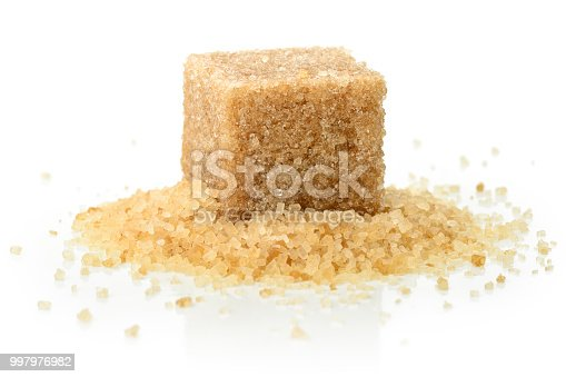 Brown sugar cube.  Isolated on a white background.