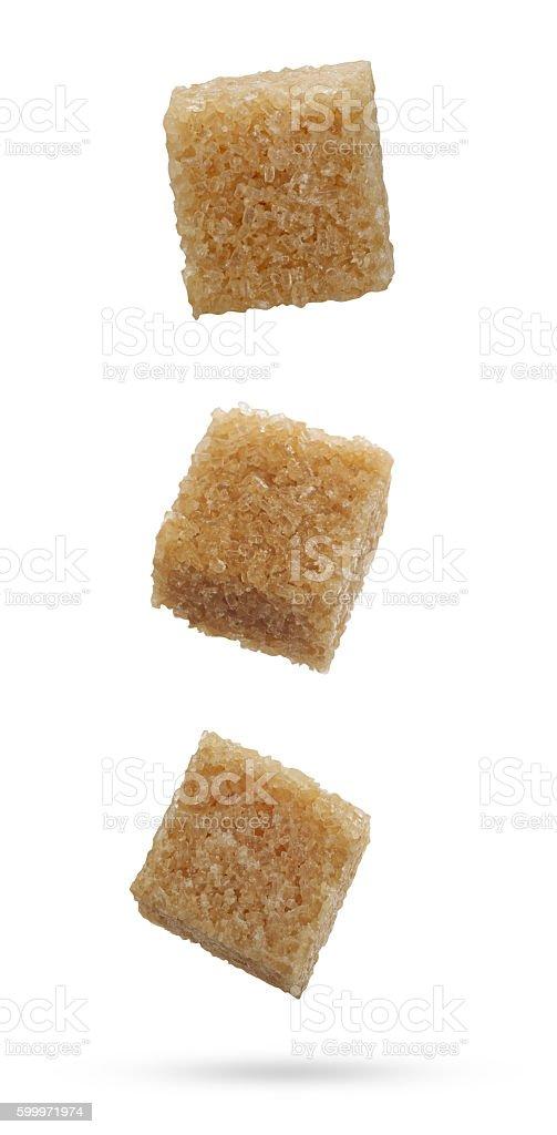 Brown sugar cubes stock photo
