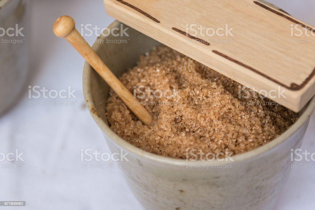 Brown Sugar inside a Clay Bowl, Food Theme stock photo