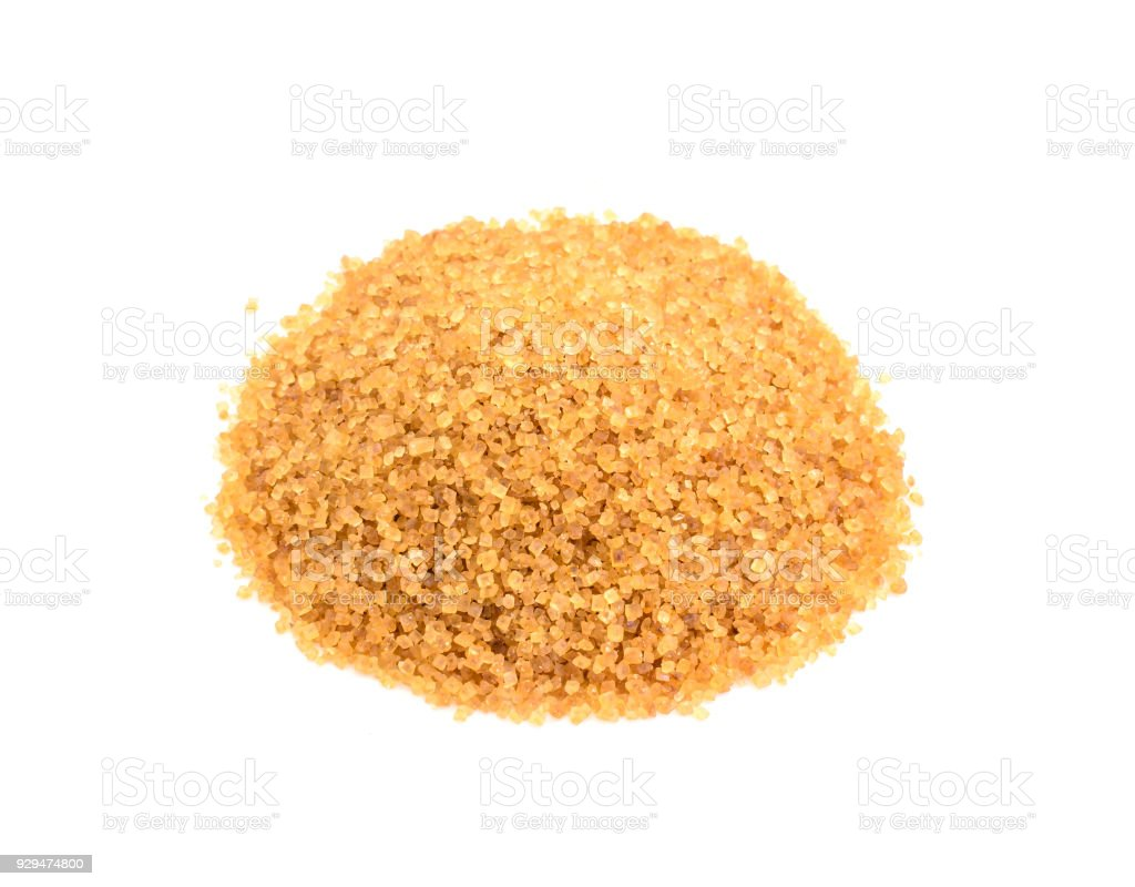 Brown sugar natural healthy product isolated on white stock photo
