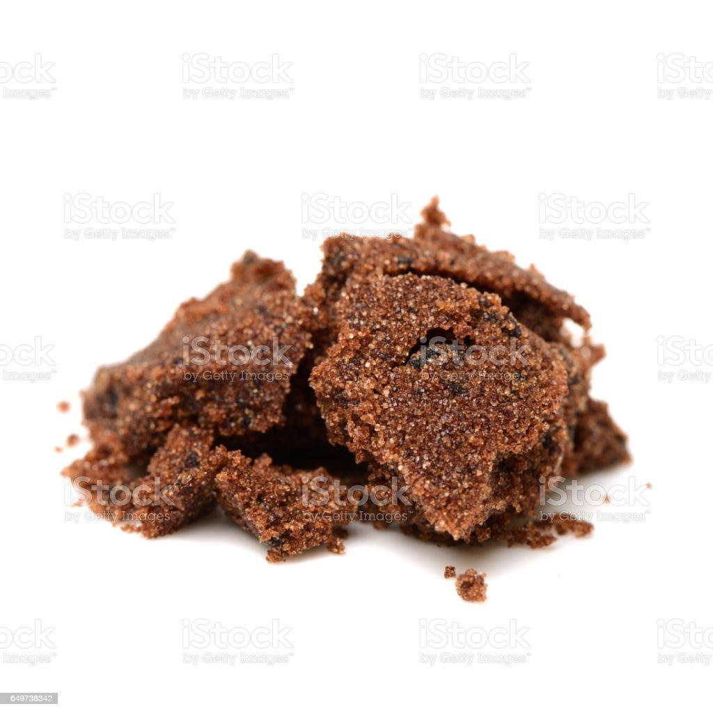 brown sugar on white background stock photo