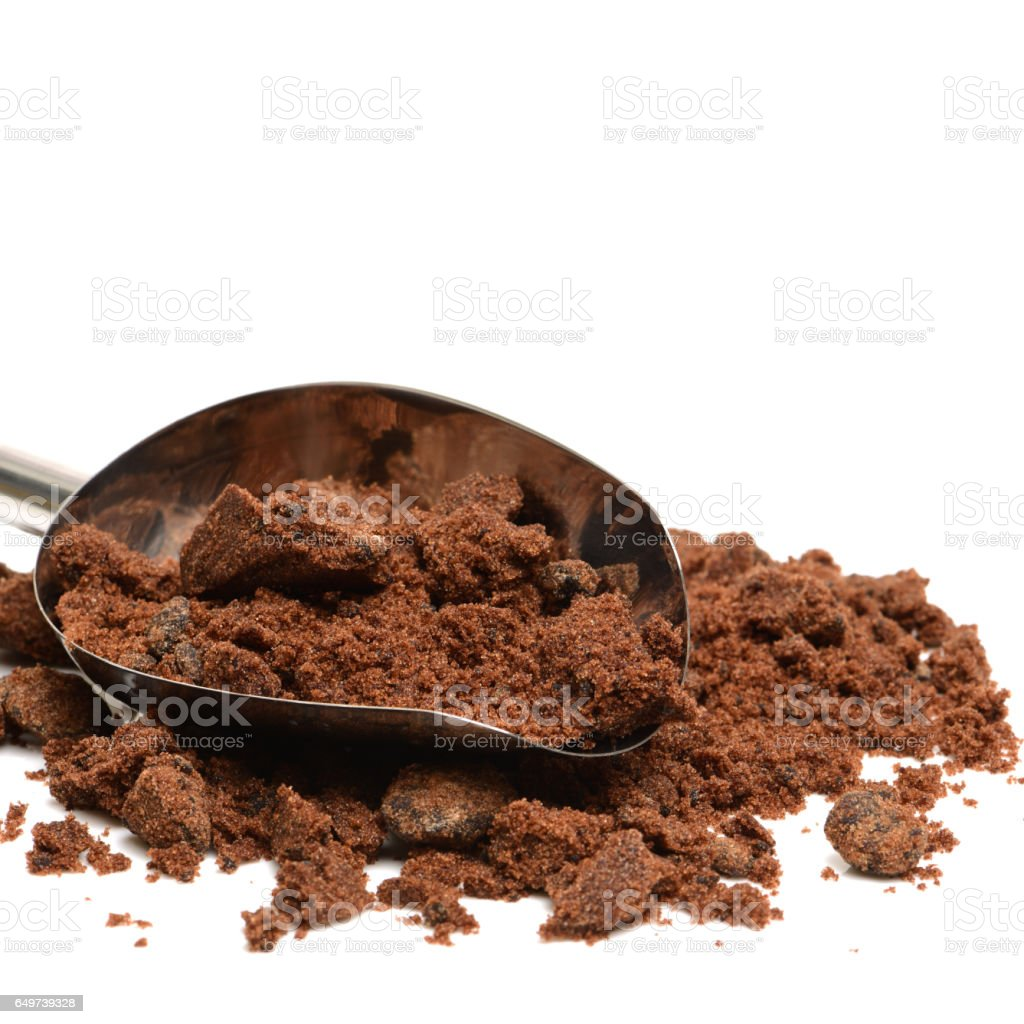 brown sugar on white background stock photo