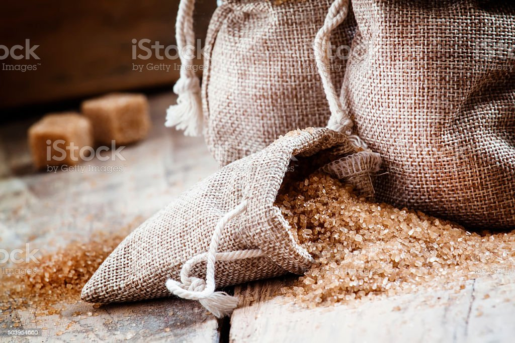 Brown sugar, packed in bags stock photo