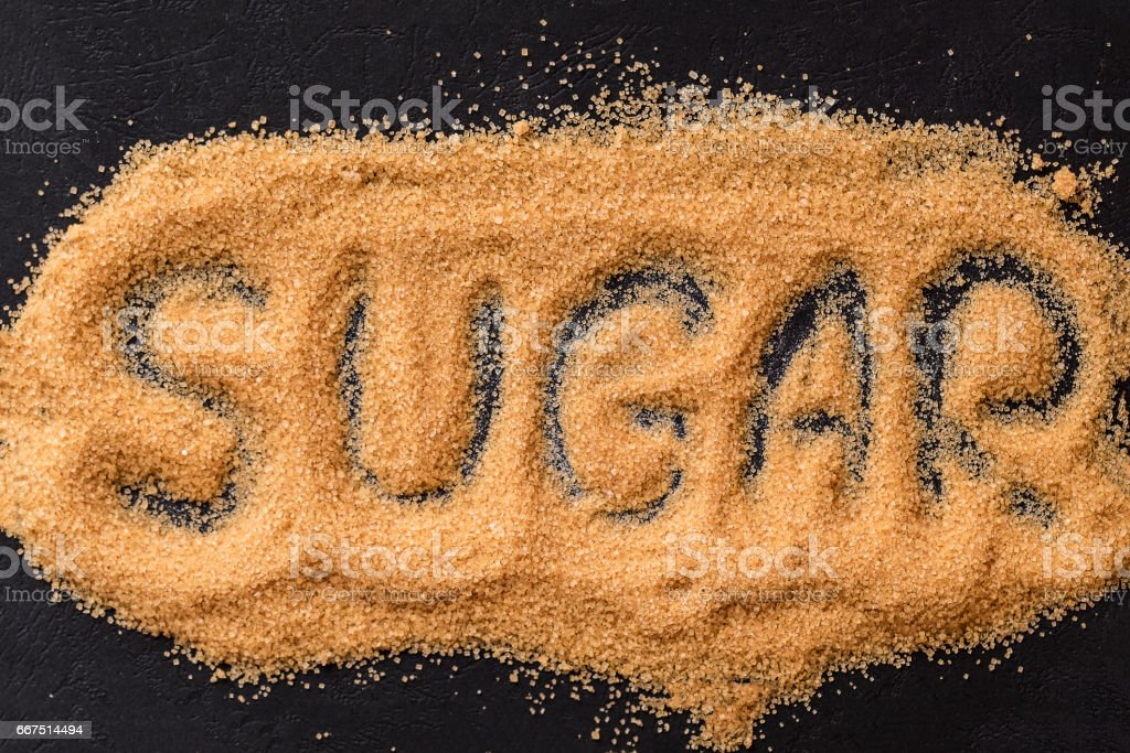 Brown sugar word on black stock photo