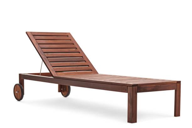 braune liege mit zwei rädern - sun chair stock-fotos und bilder