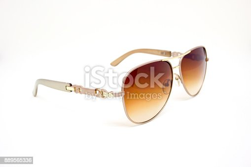 istock Brown Sunglasses with Metal Frame on White Background 889565336