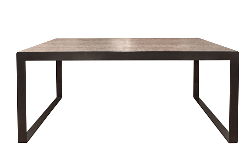 Close up brown table isolated on white background with clipping path.