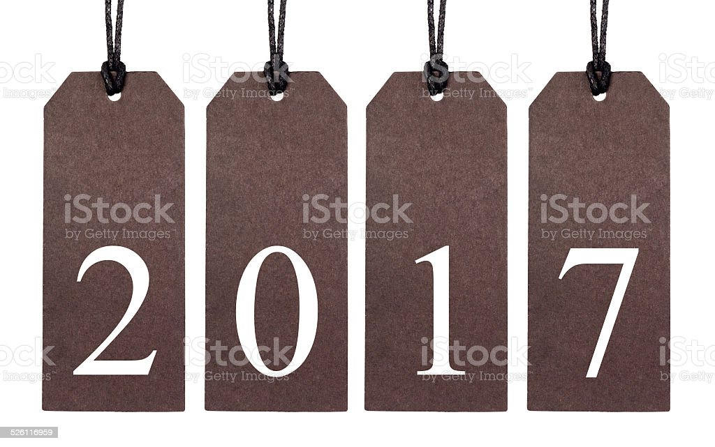 Brown tags lettering 2017 stock photo
