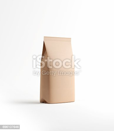 istock Brown Tea and Coffee Paper Package Isolated on White 696107646