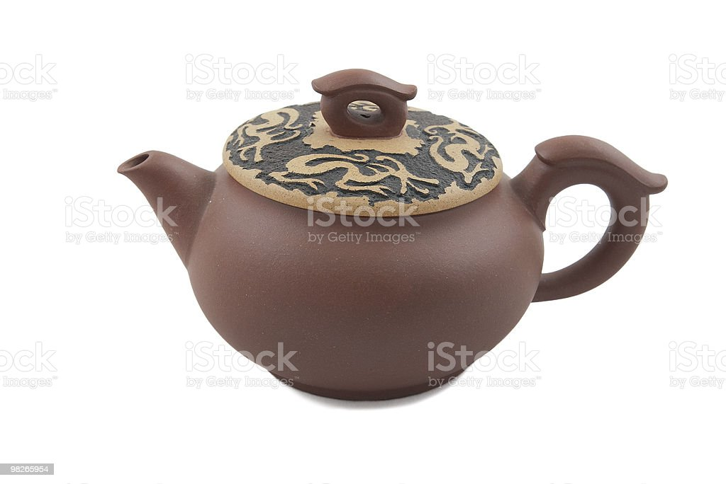 brown teapot with dragon ornament on lid royalty-free stock photo