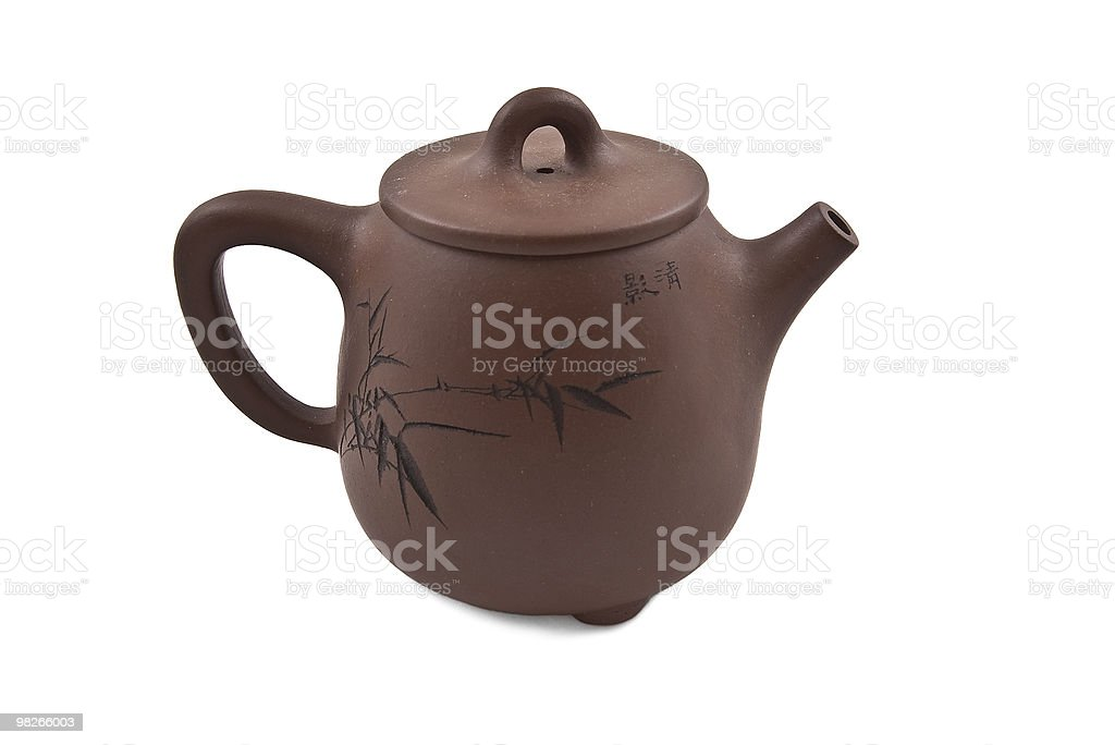 brown teapot with floral ornament royalty-free stock photo