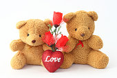 Brown teddy bear holding two roses on a white background.