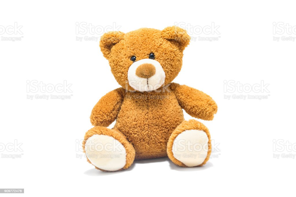 Brown teddy bear isolated in front of a white background. stock photo