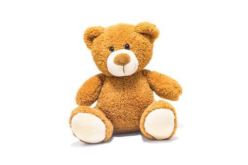 棕色泰迪熊在白色背景的前面被隔絕了 照片檔及更多 剪裁圖 照片