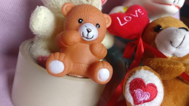 Brown teddy bear toys with red heart and love Teddy bear toys teddy bear stock pictures, royalty-free photos & images