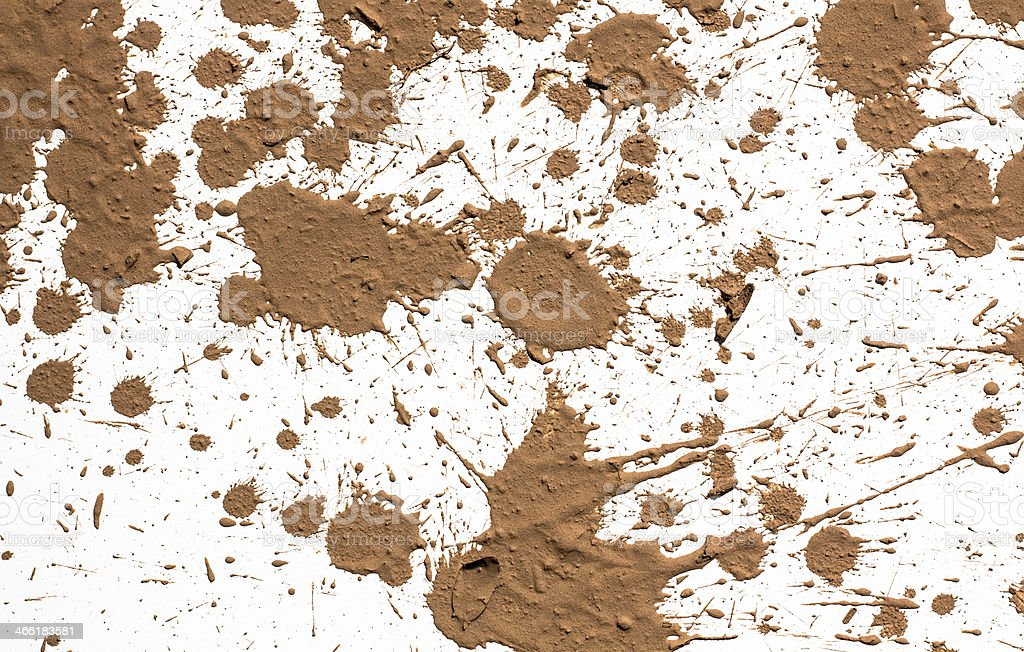Brown texture clay splashed on white background stock photo