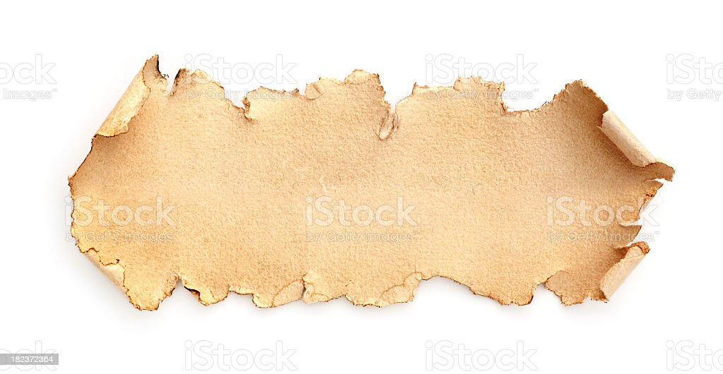 A brown torn piece of paper on a white background royalty-free stock photo