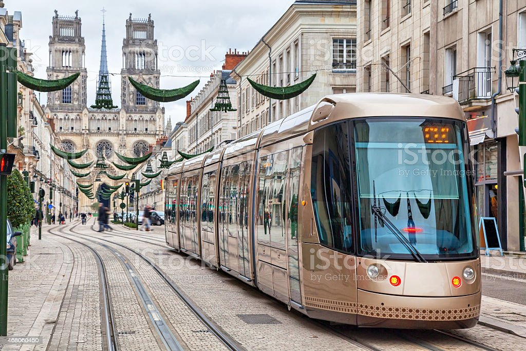 Brown tram in Orleans stock photo