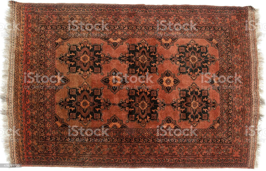 Brown tribal rug stock photo