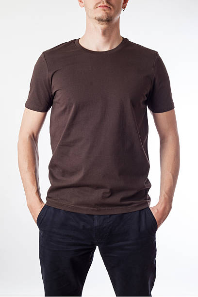Brown t-shirt template ready for your graphic design. stock photo