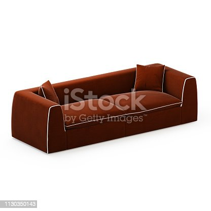 Brown two seater sofa with pillows on a white background 3d rendering