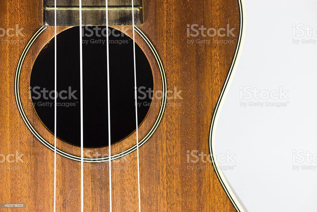 Brown Ukulele part isolated on white stock photo