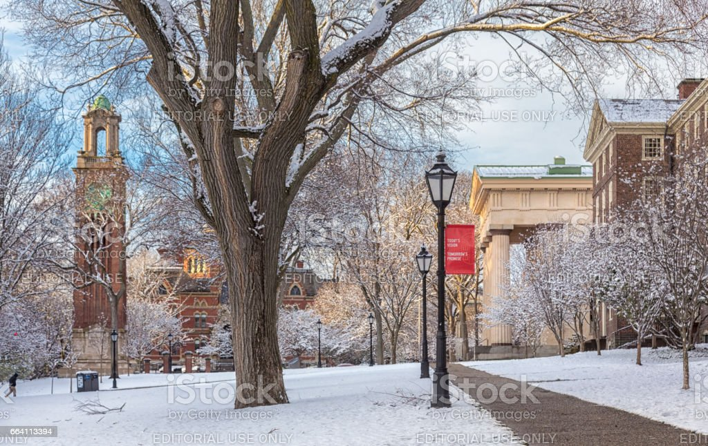Brown University in snow stock photo