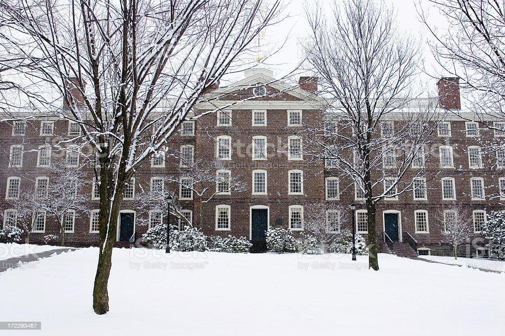 brown university in the snow stock photo istock