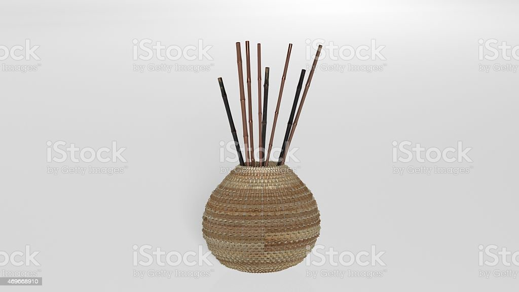 Brown Vase With Bamboo Sticks Stock Photo More Pictures Of 2015
