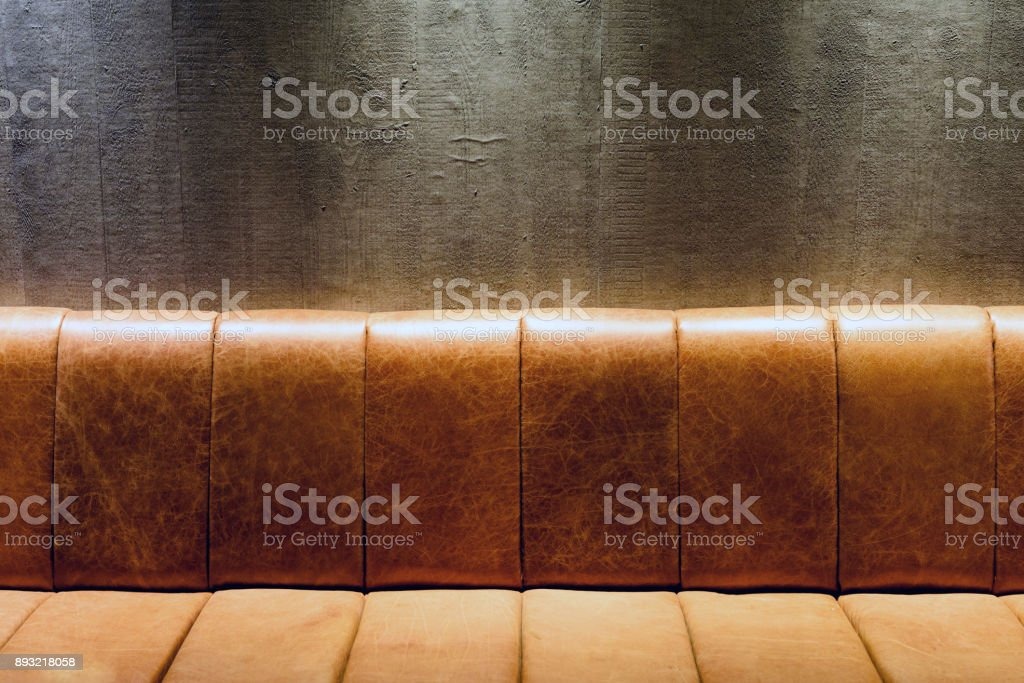 Brown Vintage Leather Couch at Night stock photo