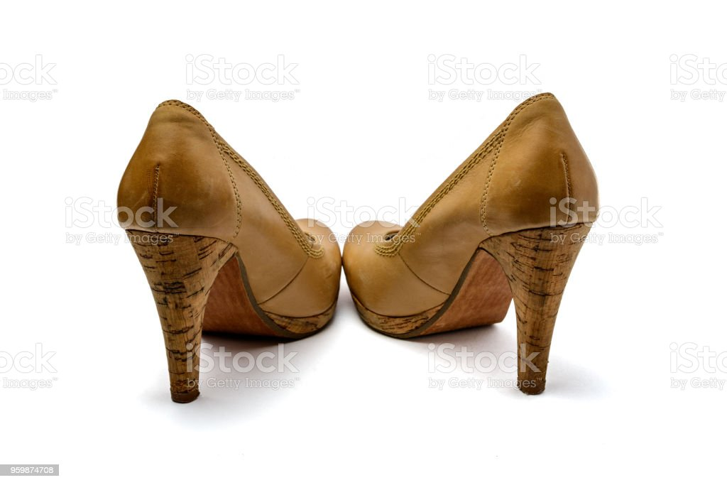 364bf0642d62e Brown Vintage Leather High Heel Plateau Pumps Stock Photo & More ...